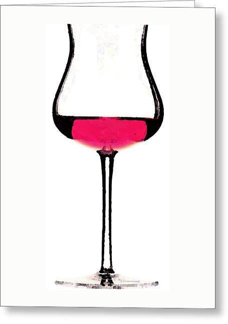 Cabernet Digital Greeting Cards - Abstract Red Wine Glass 3 Greeting Card by Sharon Cummings