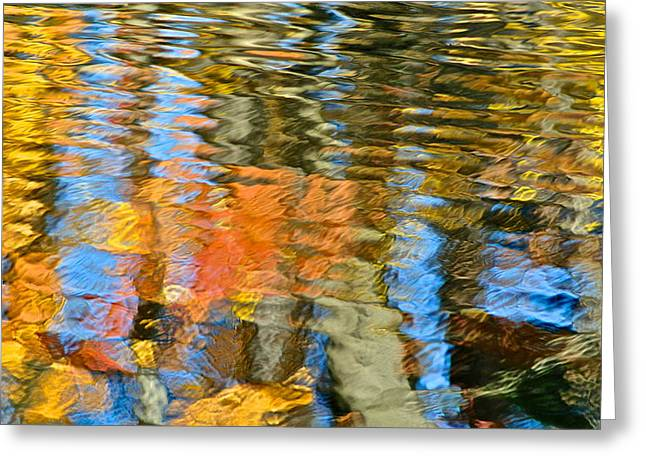 Liquid Gold Greeting Cards - Abstract Reflection Greeting Card by Frozen in Time Fine Art Photography