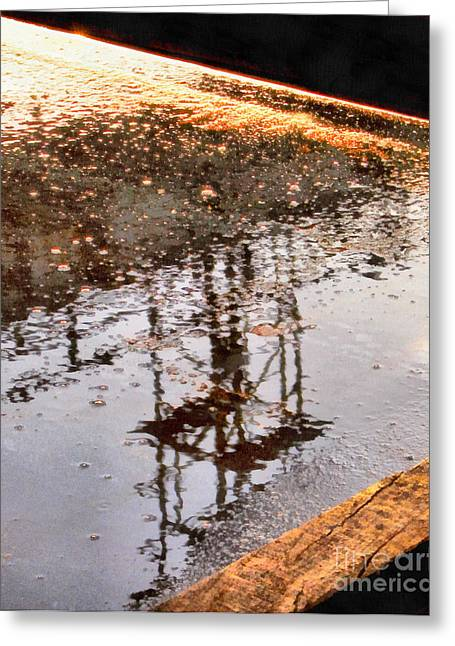 Puddle Paint Greeting Cards - Abstract reflections in water Greeting Card by Odon Czintos
