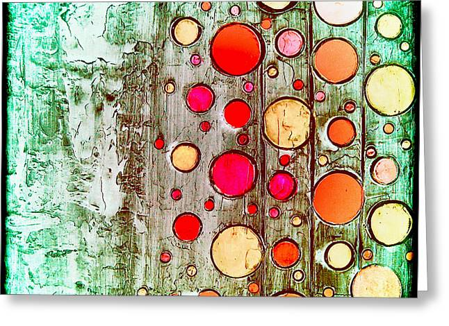 Laura Carter Greeting Cards - Abstract Retro Circles Painting Greeting Card by Laura  Carter
