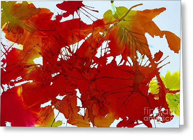 Splashy Paintings Greeting Cards - Abstract - Riot of Fall Color - Autumn Greeting Card by Ellen Levinson