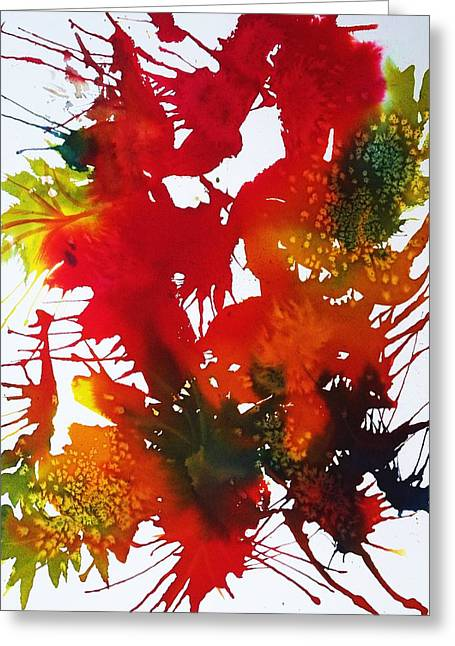 Splashy Paintings Greeting Cards - Abstract - Riot Of Fall Color II - Autumn Greeting Card by Ellen Levinson