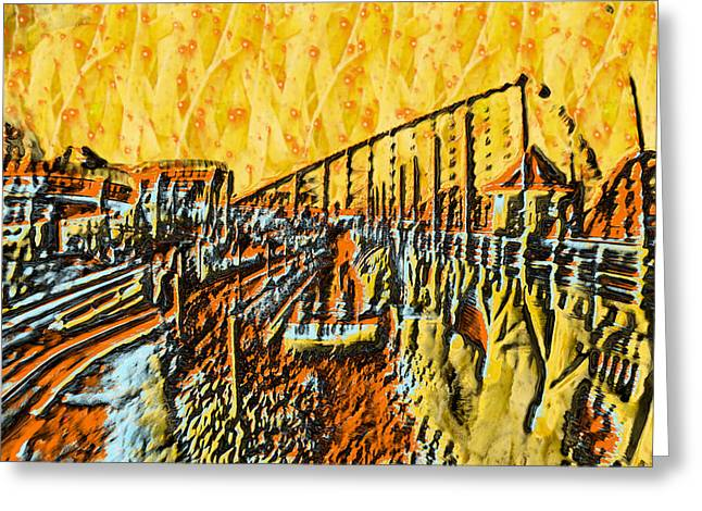 Color Reliefs Greeting Cards - Abstract Roller Coaster Greeting Card by Michael Braham