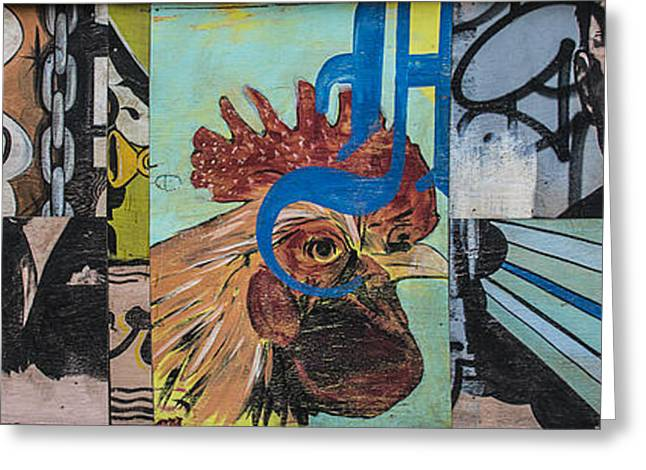 Mural Mixed Media Greeting Cards - Abstract Rooster Panel Greeting Card by Terry Rowe