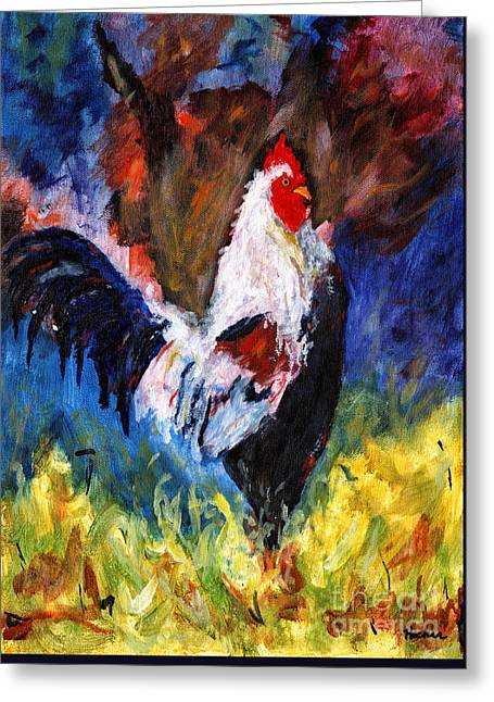 Bedroom Art Greeting Cards - Abstract Rooster Greeting Card by Timothy Hacker