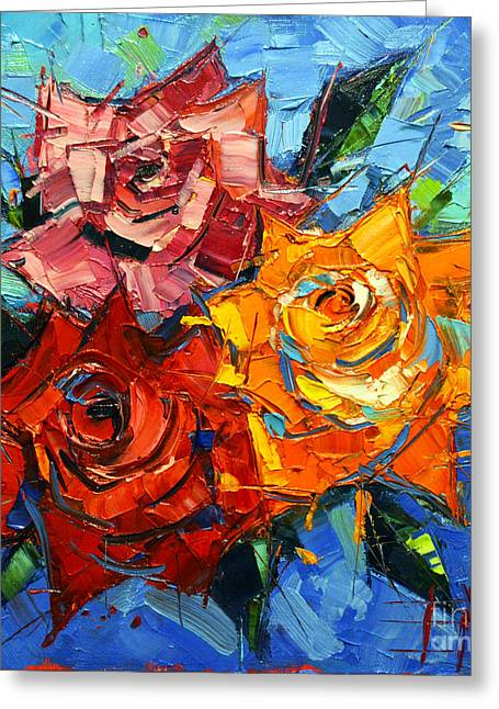 Abstract Roses On Blue Greeting Card by Mona Edulesco