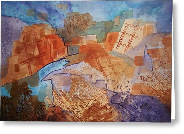 The Houses Greeting Cards - Abstract Ruins Greeting Card by Ellen Levinson