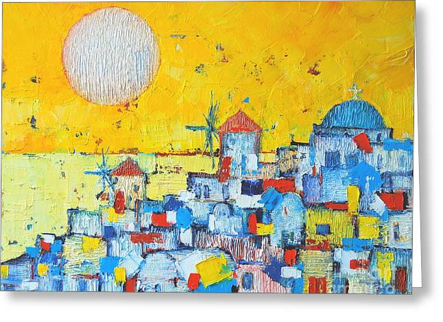 Blue And Orange Greeting Cards - Abstract Santorini - Oia Before Sunset Greeting Card by Ana Maria Edulescu