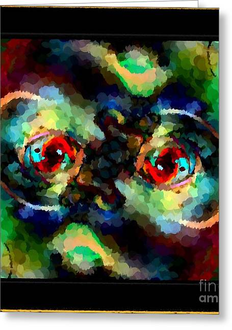 Daubs Greeting Cards - Abstract Scary Face Greeting Card by Barbara Griffin