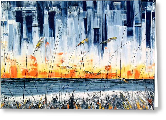 Pallet Knife Greeting Cards - Abstract Sea Grass 1 Greeting Card by David Sigel