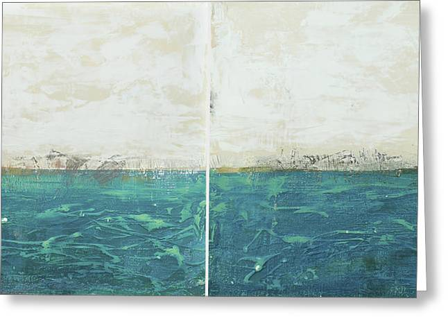 Abstract Rain Greeting Cards - Abstract seascape 02/14 diptych Greeting Card by Filippo B