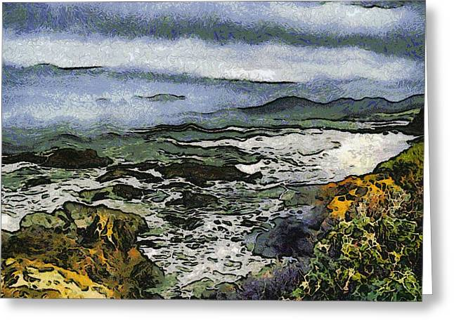 Abstract Seascape Morro Bay California Greeting Card by Barbara Snyder