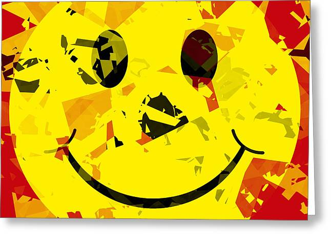 Smiley Greeting Cards - Abstract Smiley Face Greeting Card by David G Paul
