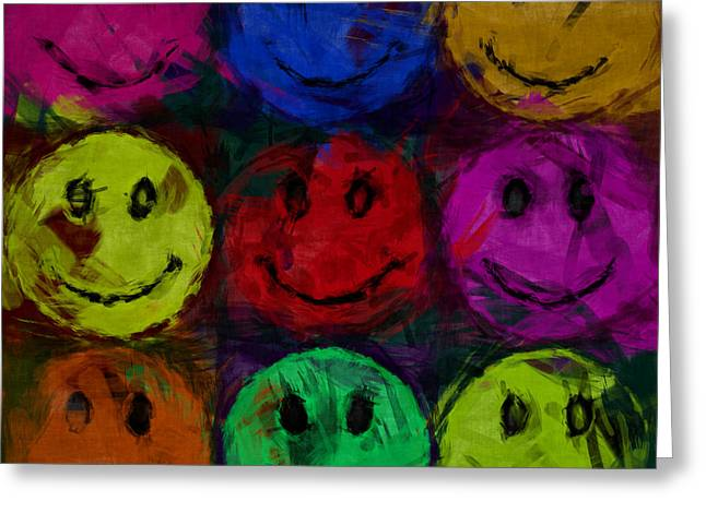 Smiley Faces Greeting Cards - Abstract Smiley Faces Greeting Card by David G Paul