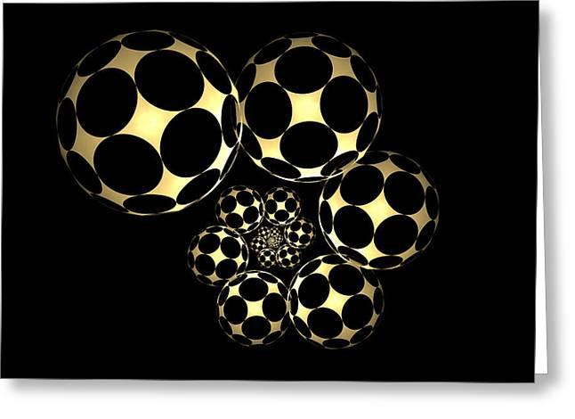 Geometric Digital Art Greeting Cards - Abstract Soccer Balls Greeting Card by Sandy Keeton
