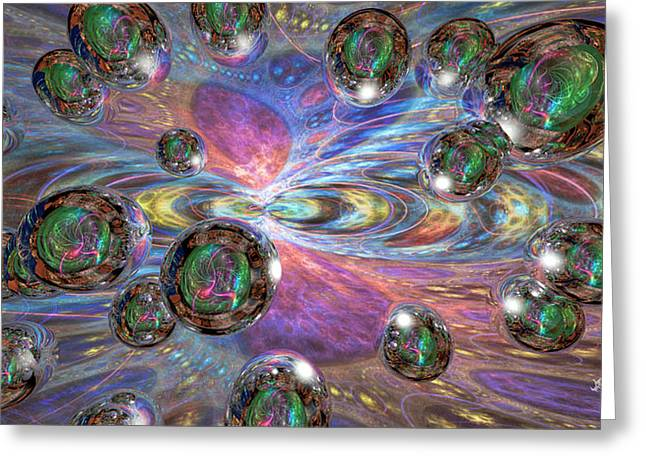 Fractal Orbs Greeting Cards - Abstract Space Greeting Card by Chris Girard