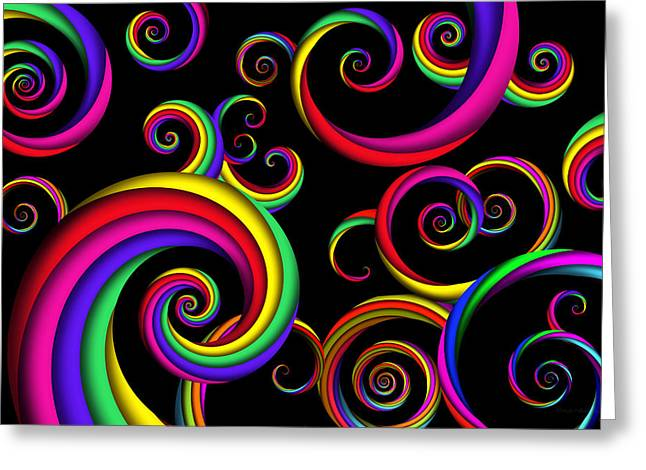 Fashion Abstraction Greeting Cards - Abstract - Spirals - Inside a clown Greeting Card by Mike Savad