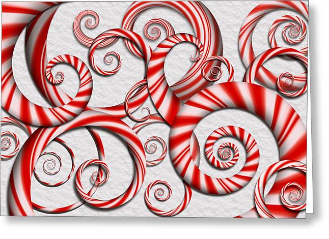 Abstract - Spirals - Peppermint Dreams Greeting Card by Mike Savad
