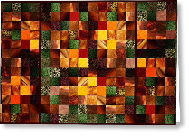 Art Quilt Greeting Cards - Abstract Squares Triptych Gentle Brown Greeting Card by Irina Sztukowski