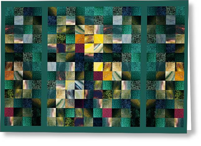 Abstract Squares Triptych Gentle Green Greeting Card by Irina Sztukowski