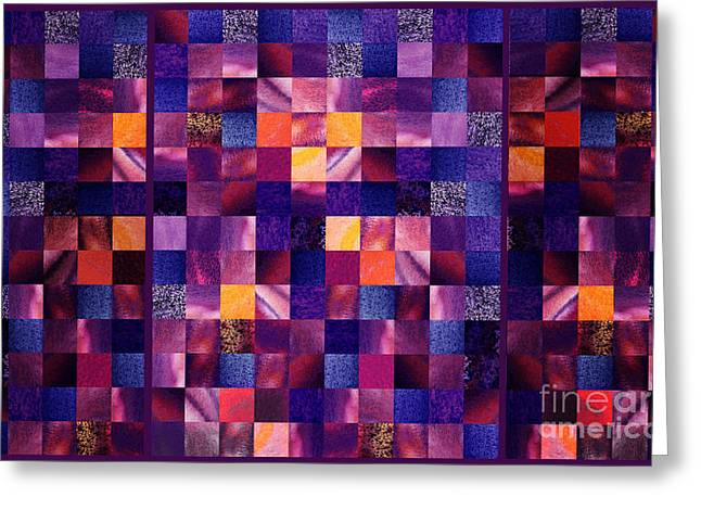 Purple Abstract Greeting Cards - Abstract Squares Triptych Gentle Purple Greeting Card by Irina Sztukowski