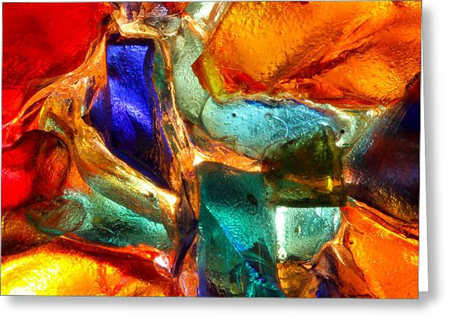 Turquoise Stained Glass Greeting Cards - Abstract Stained Glass  Greeting Card by Kerstin Ivarsson