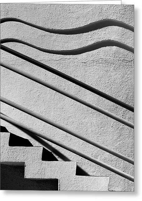 Diagonal Lines Greeting Cards - Abstract Stairs Greeting Card by David Smith