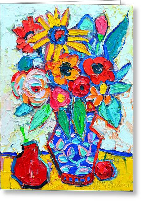 Abstract Still Life - Colorful Flowers And Fruits Greeting Card by Ana Maria Edulescu