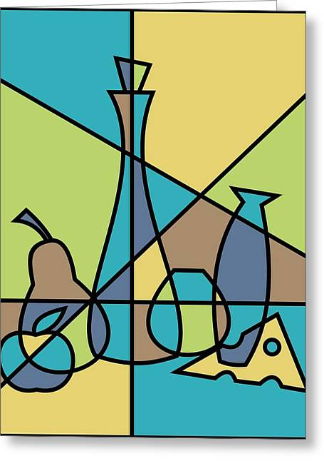 Pear Art Digital Art Greeting Cards - Abstract Still Life Greeting Card by Donna Mibus