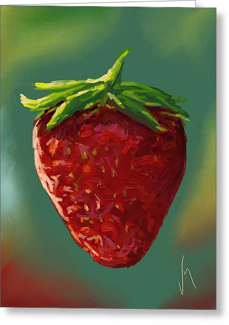 Abstract Strawberry Greeting Card by Veronica Minozzi