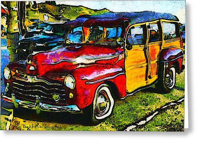 Abstract Suffer Woody Wagon Greeting Card by Barbara Snyder