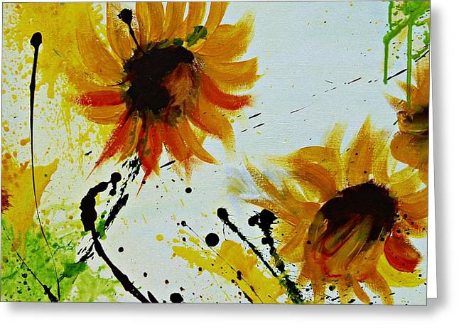 Abstract Sunflowers 2 Greeting Card by Ismeta Gruenwald