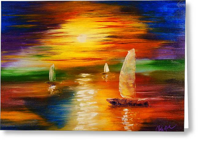 Sailboat Photos Paintings Greeting Cards - Abstract Sunset Greeting Card by Chris Fraser