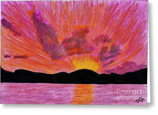Surf Silhouette Drawings Greeting Cards - Abstract - Sunset Greeting Card by D Hackett