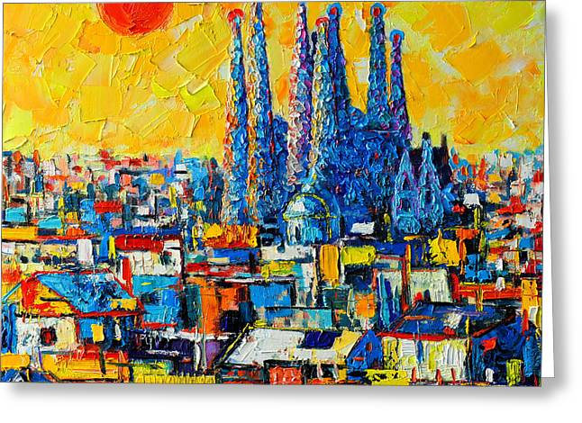 Red Buildings Greeting Cards - Abstract Sunset Over Sagrada Familia In Barcelona Greeting Card by Ana Maria Edulescu