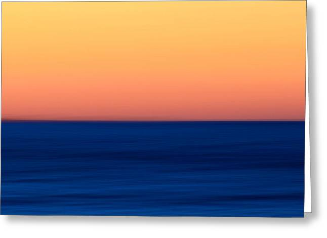 New England Ocean Greeting Cards - Abstract Sunset over the Ocean Greeting Card by Katherine Gendreau