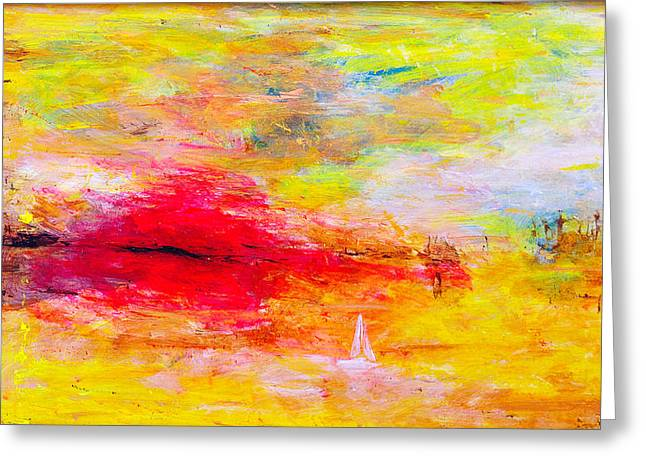 Cheap Paintings Greeting Cards - Abstract sunset over the sea Greeting Card by Jiri Capek