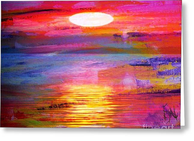 Grievances Greeting Cards - Abstract Sunset Greeting Card by PainterArtist FIN