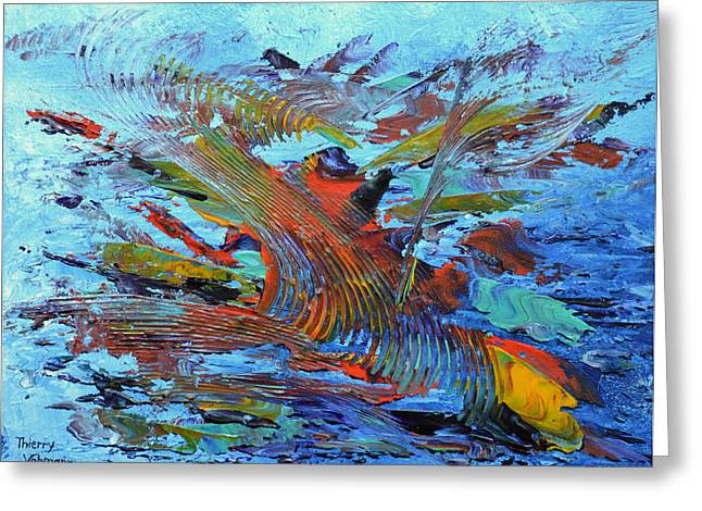 Best Sellers -  - Coloured Greeting Cards - Abstract sunset Greeting Card by Thierry Vobmann