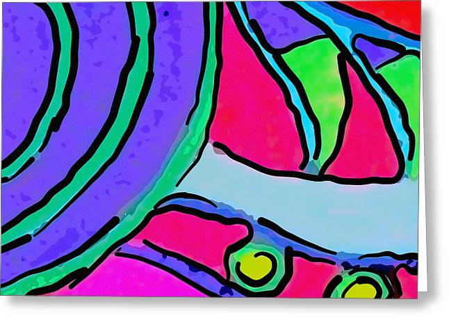 Fushia Greeting Cards - Abstract Swirl Square Greeting Card by Jodi Jacobson