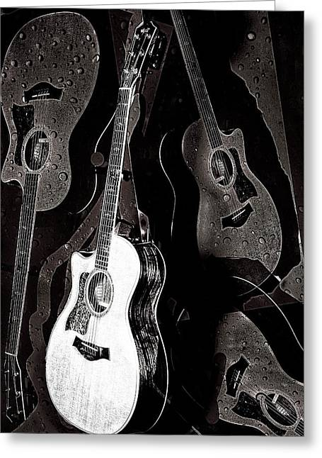 Taylor Guitar Greeting Cards - Abstract Taylor Guitars Greeting Card by Susan Stone
