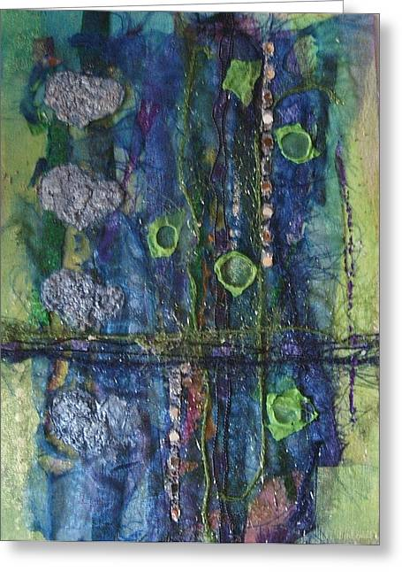 Chiffon Mixed Media Greeting Cards - Abstract textile 1 Greeting Card by Carol Rowland