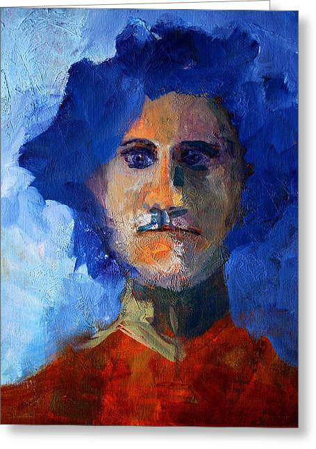 Pondering Paintings Greeting Cards - Abstract Thinking Man Portrait Greeting Card by Nancy Merkle