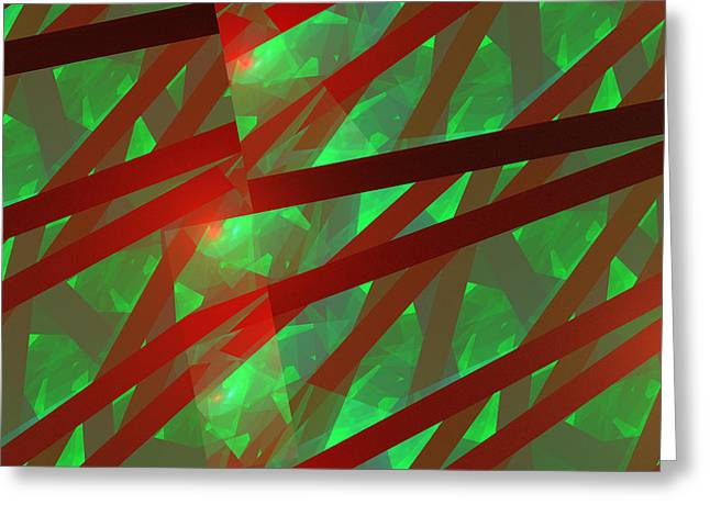 Geometric Style Greeting Cards - Abstract Tiled Green And Red Fractal Flame Greeting Card by Keith Webber Jr