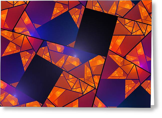 Geometric Style Greeting Cards - Abstract Tiled Orange And Blue Fractal Flame Greeting Card by Keith Webber Jr
