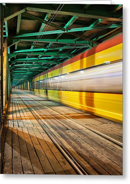 Illuminate Greeting Cards - Abstract Tram Light Trails on a Bridge Greeting Card by Artur Bogacki