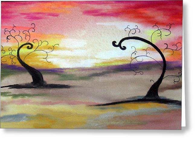 Nature Abstract Pastels Greeting Cards - Abstract Tree #1 Greeting Card by Melissa Murphy