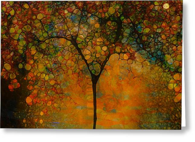 Reds Of Autumn Mixed Media Greeting Cards - Abstract Tree Art Greeting Card by Dan Sproul