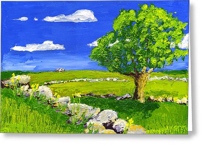 Abstract Blueberries Greeting Cards - Abstract Tree In Maine Blueberry Field Painting. Greeting Card by Keith Webber Jr