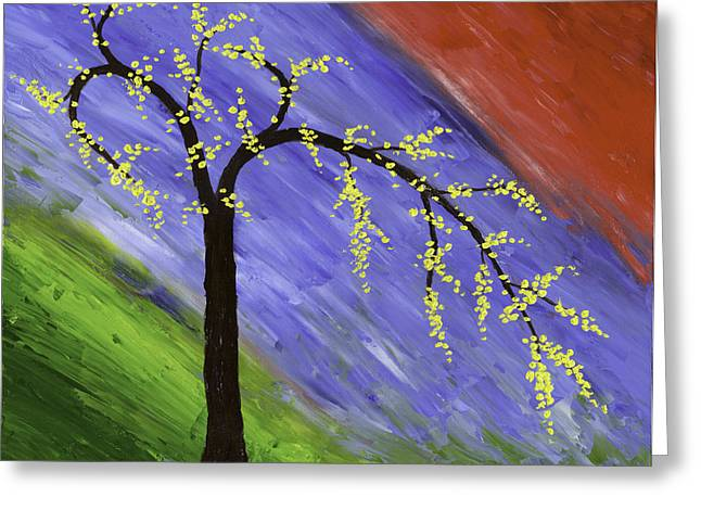 Tree Art Greeting Cards - Abstract tree painting Greeting Card by Keith Webber Jr